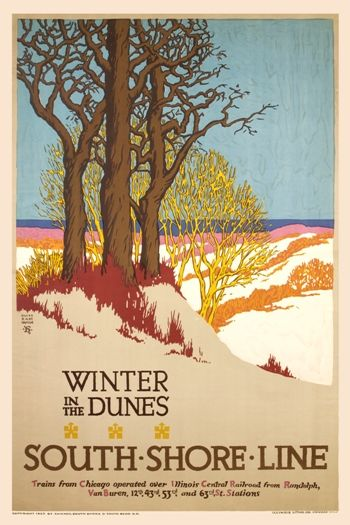 Autumn Dune Park vintage South Shore Line poster repro 24x36