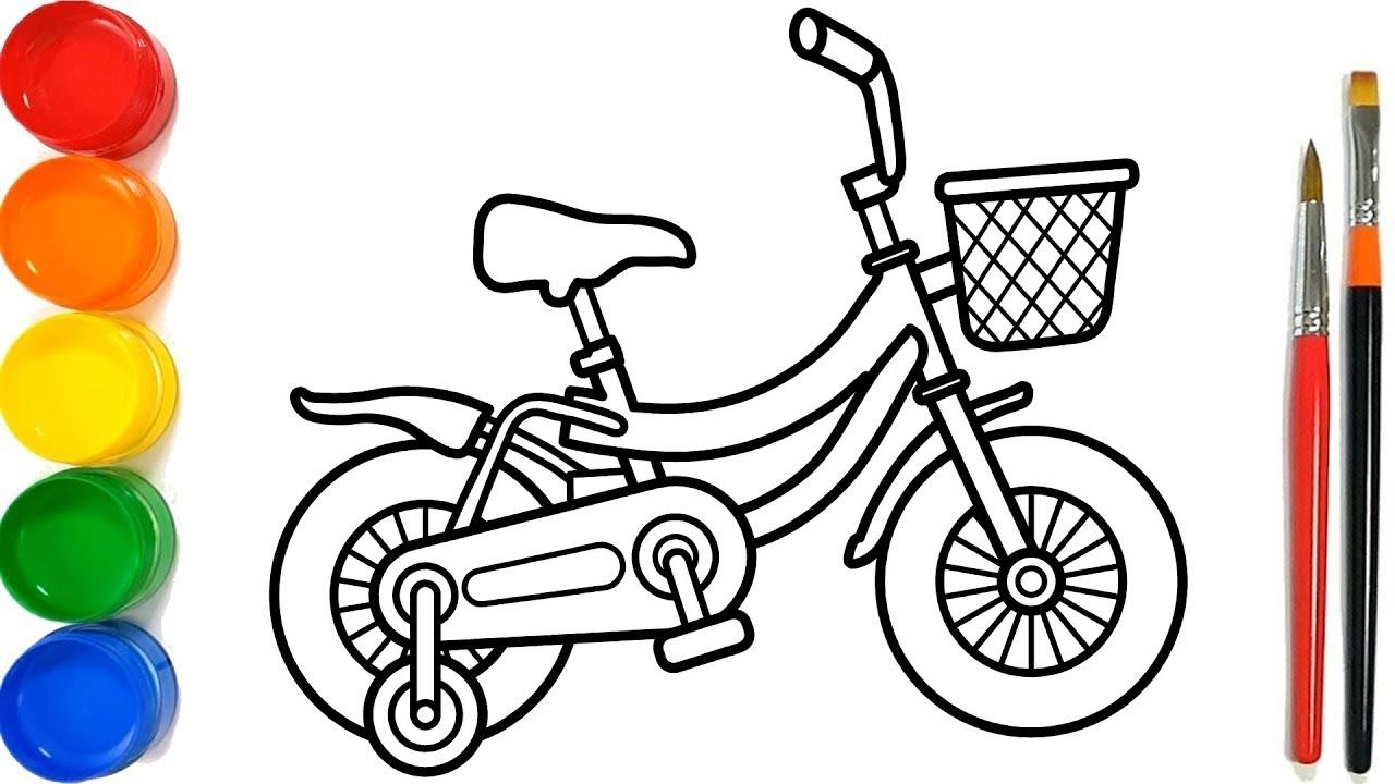 Glitter Bicycle Coloring Pages For Kids