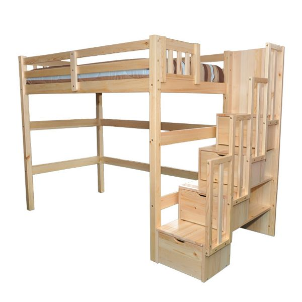 Encore Stairway Twin Loft Bed Natural Single Loft Bed Staircase Loft Bed Low Loft Beds