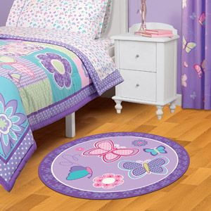 "American Kids Nylon Round Accent Rug, Butterfly, 40""- Rug that matches set Leah likes"