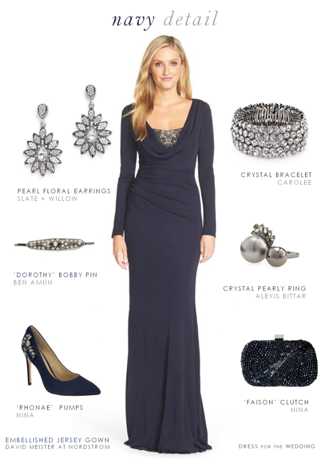 bfb0ebbfa36 Navy Blue Evening Gown with Long Sleeves. A dark blue gown with sleeves for  a mother of the bride or for a black tie wedding.