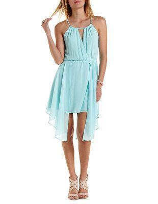 Handkerchief Hem Chiffon Halter Dress: Charlotte Russe