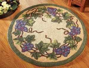 Grapevine Purple Grape Green Vine Round Accent Small Area Rug Kitchen Decor