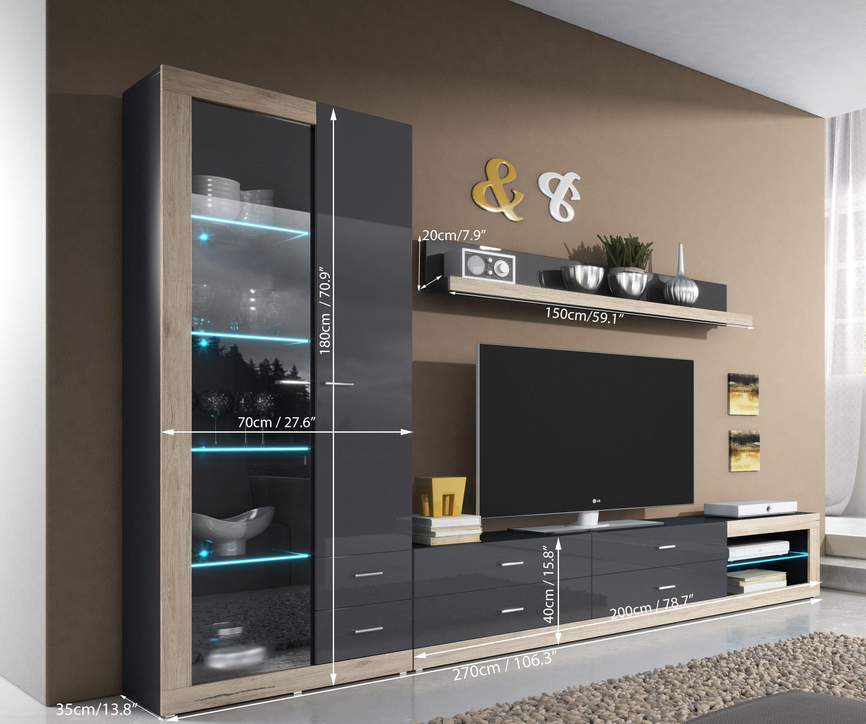 Wall unit Tessa 2 | Living room wall units, Wall unit designs and ...