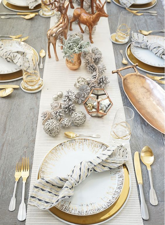 gorgeously elegant gold and silver christmas table pattonmelo decoration table christmas dining table decorations - Silver Christmas Table Decorations