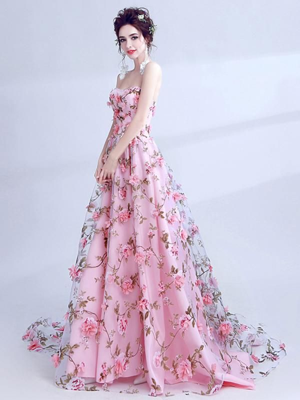 2018 A Line Prom Dress Pink Lace Flower Long Prom Dress # VB1031