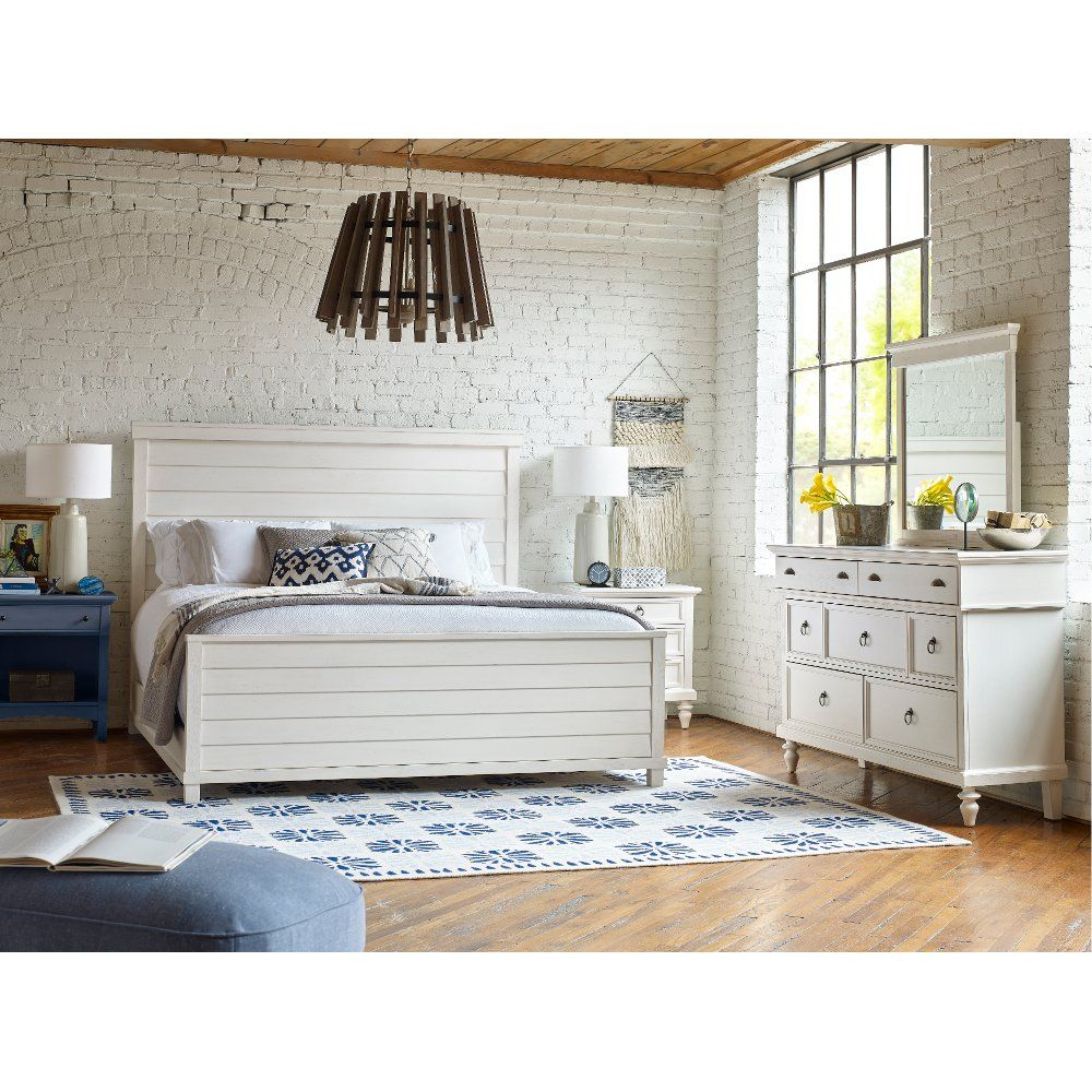 Rustic Casual White 4 Piece King Bedroom Set Ashgrove