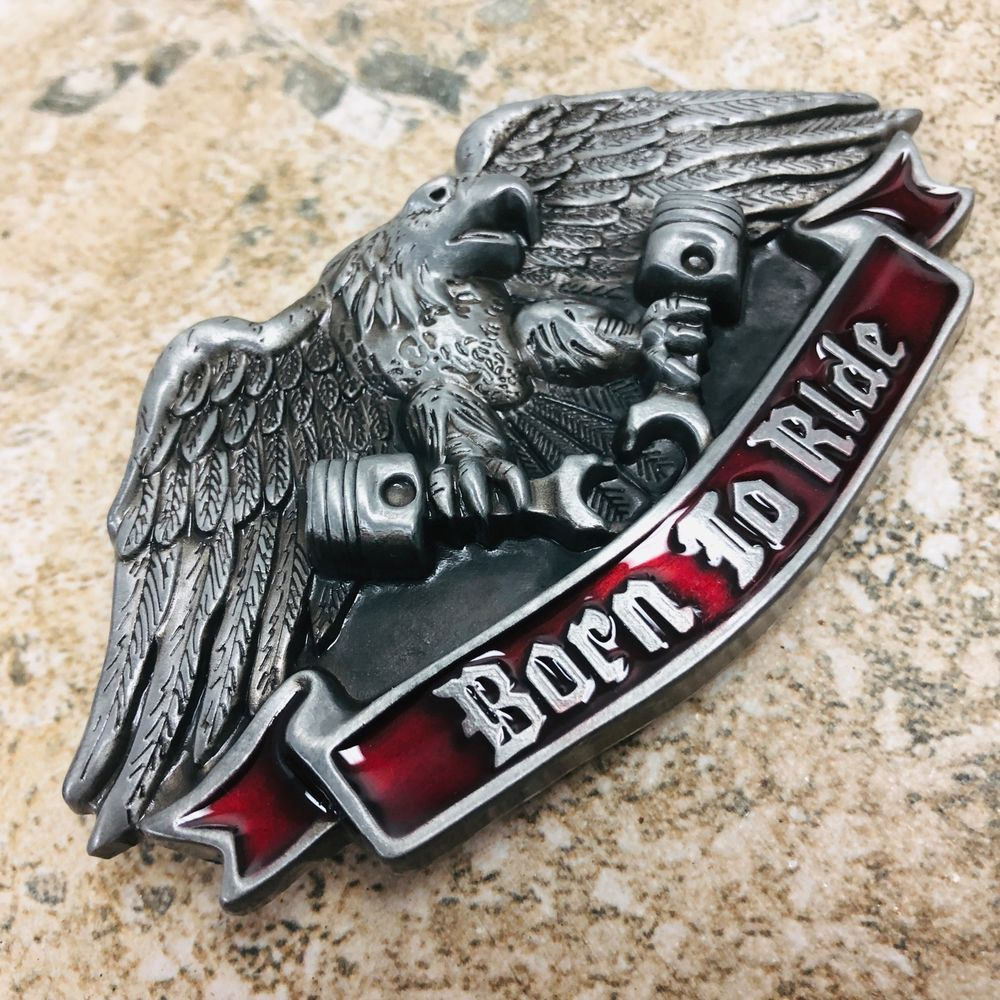 New Born To Ride Eagle Belt Buckle