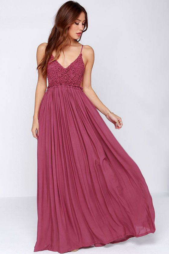 Blooming Prairie Crocheted Berry Pink Maxi Dress at Lulus.com!