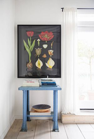 Anne Ziegler's Urban Oasis | Vintage Blue Metal Table + Botanical Print