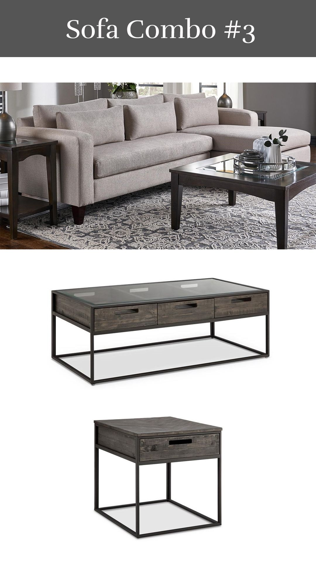 Updated transitional parker sofa chaise claremont cocktail table end table