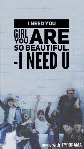 Bts I Need U Lyrics Wallpaper Bts Wallpaper Lyrics Bts