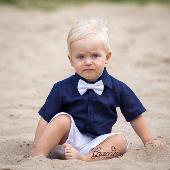 34dbeda8e Baby boy navy blue shirt white shorts bow tie Ring bearer outfit Boy ...