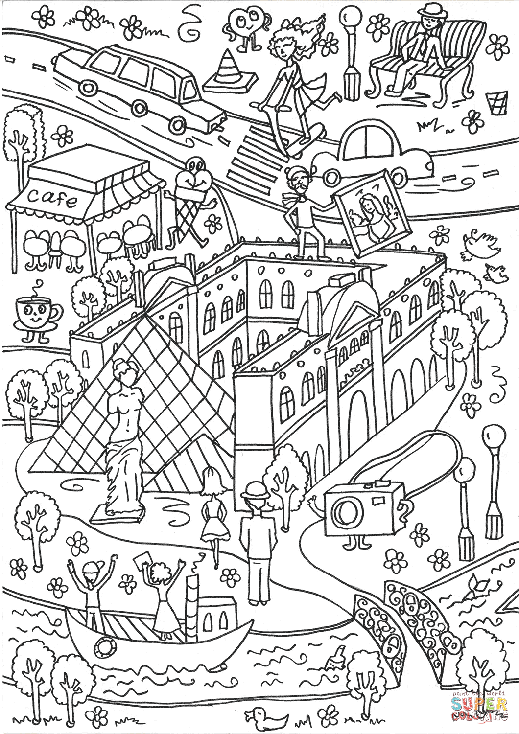The Louvre Museum And The Seine River Coloring Page Free Printable Coloring Pages Coloring Pages Louvre Museum Free Printable Coloring