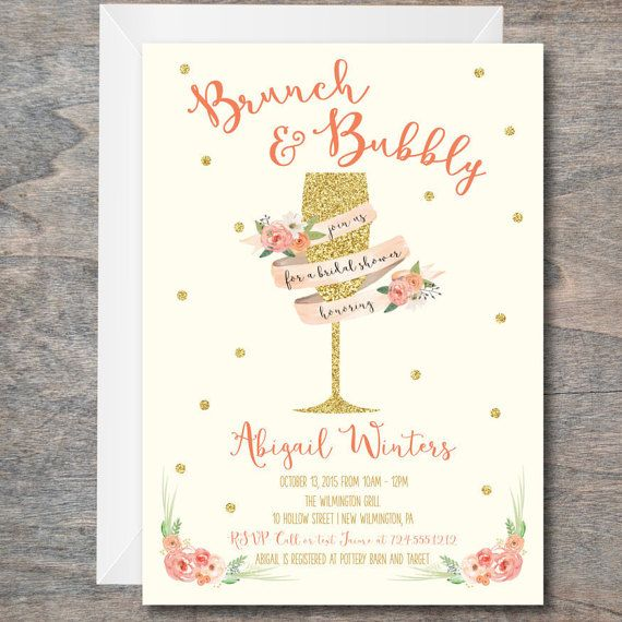 Bridal shower invitation brunch and bubbly invitation bridal bridal shower invitation brunch and bubbly invitation bridal luncheon invitation diy printable birthday party invitation filmwisefo