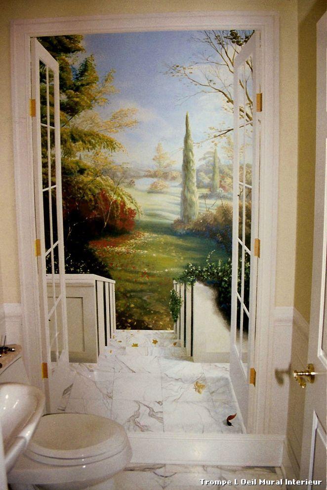 trompe l oeil mural interieur with classique toilettes