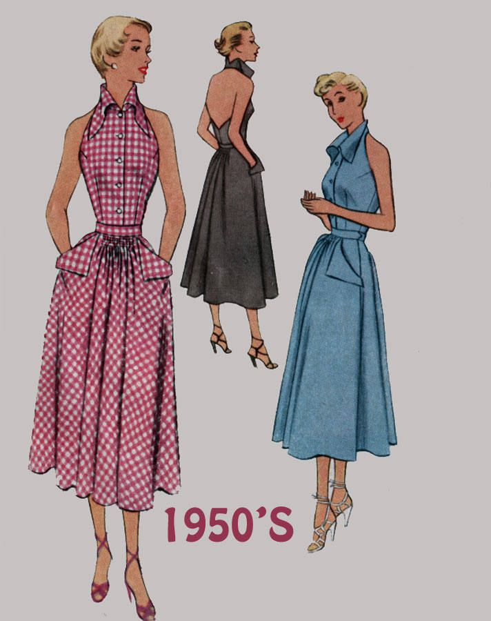 04447d01853f Vintage 50s Stunning Halter Dress w/ Amazing Stand up Collar Sewing pattern  McCalls 8082 Rockabilly 50s Pattern Size 12 by sandritocat on Etsy