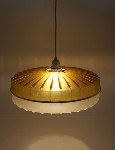 ufolampe deckenlampe lampe space age vintage gelb gold wei plastik - Deckenlampe Wohnzimmer Gold