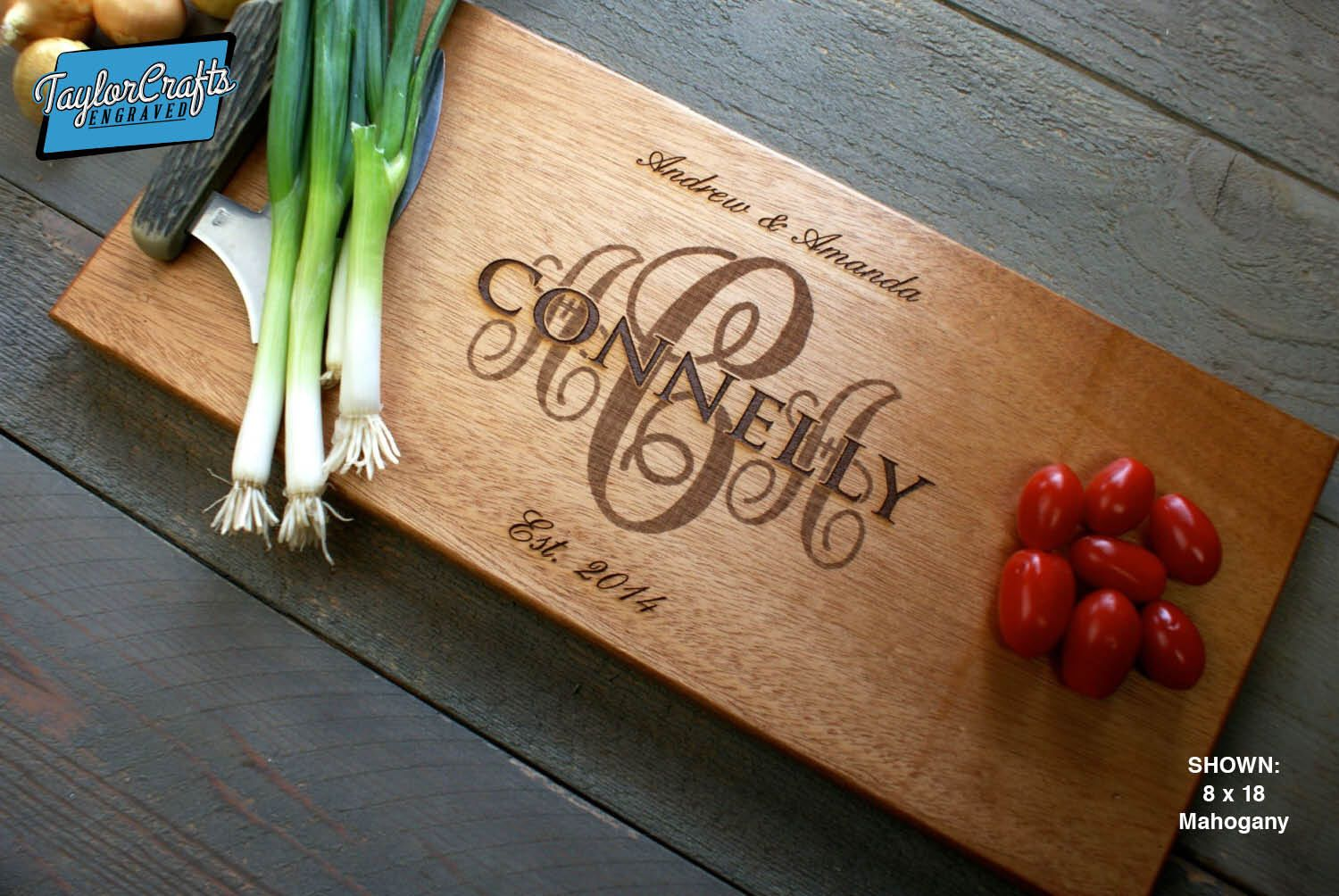 Personalized Engraved Cutting Board- Wedding Gift, Anniversary Gifts, Housewarming Gift by TaylorCraftsEngraved on Etsy https://www.etsy.com/listing/82313006/personalized-engraved-cutting-board