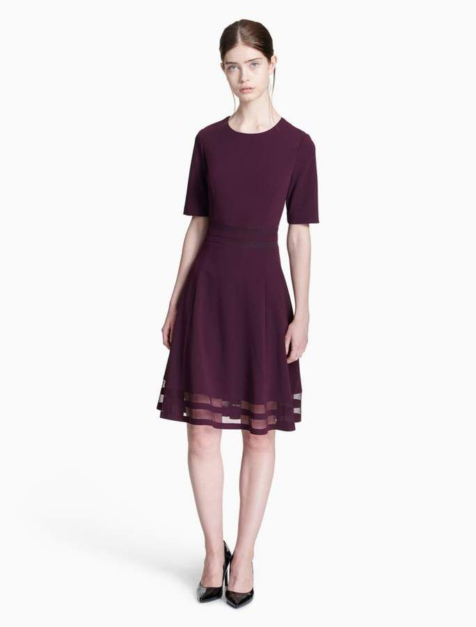 3a57031c215 Calvin Klein illusion 3 4 sleeve fit + flare dress