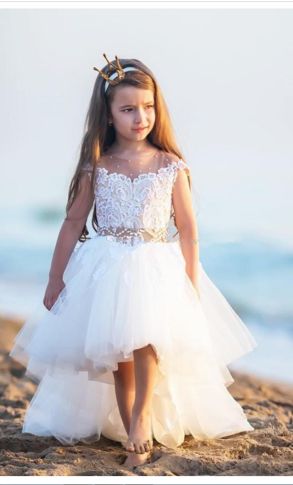 66acc477a9 Cute High Low Flower Girls Dresses For Weddings Sheer Neck Cap ...