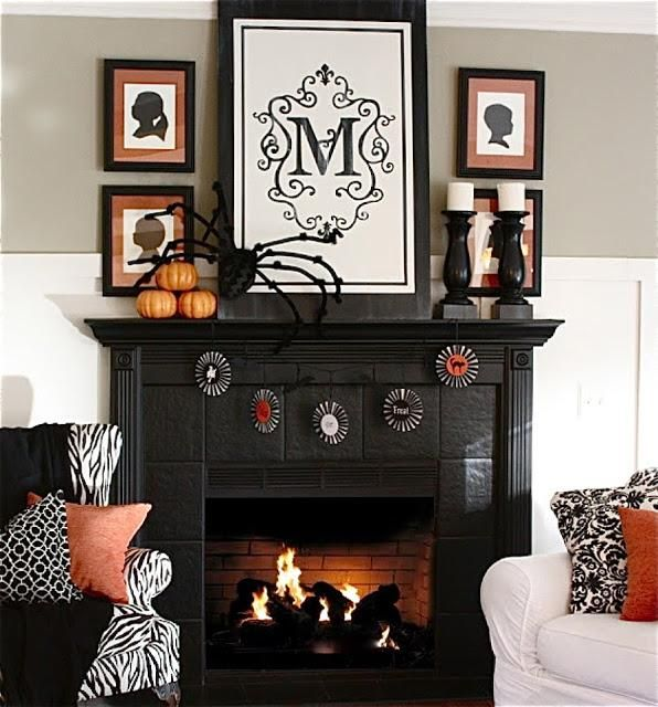 Mantel Decorations  IDEAS  NSPIRATIONS  halloween mantel
