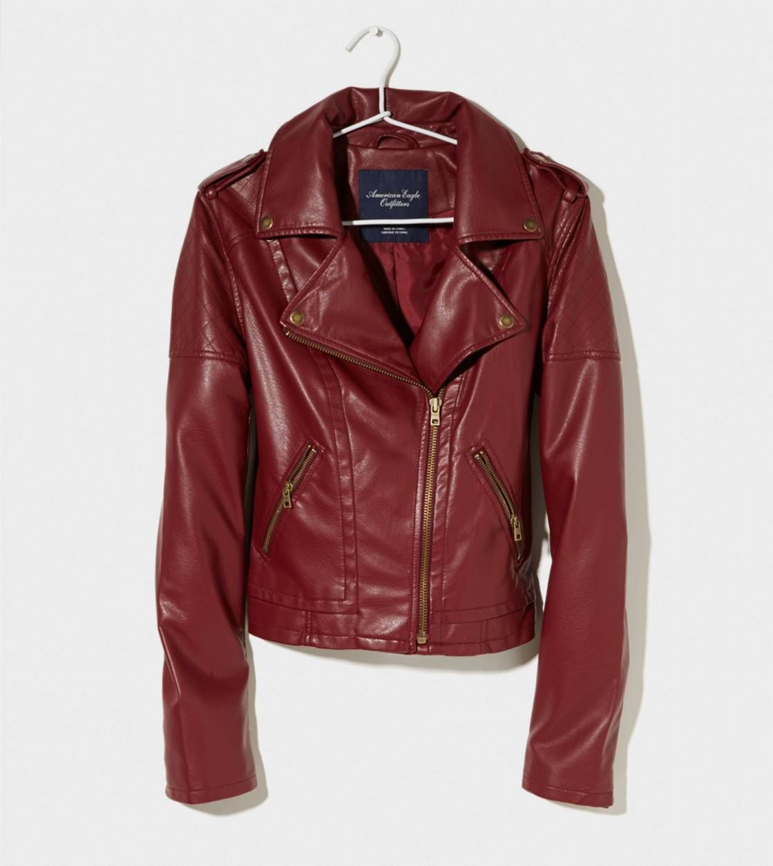 Clearance Outerwear American Eagle Outfitters Maroon Leather Jacket Leather Jacket Red Leather Moto Jacket [ 1253 x 1119 Pixel ]