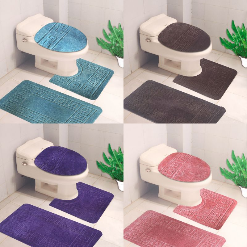 Details About 3pc Bathroom Set Bath Rug Contour Mat Toilet Lid