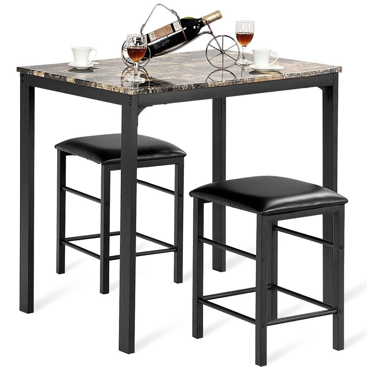 3 Pcs Counter Height Dining Set Faux Marble Table With Images