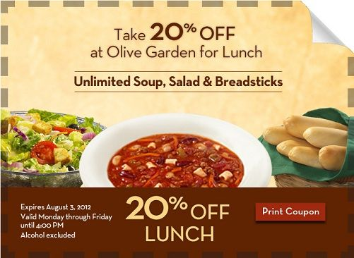 20 Off Lunch At Olive Garden Coupons Deals