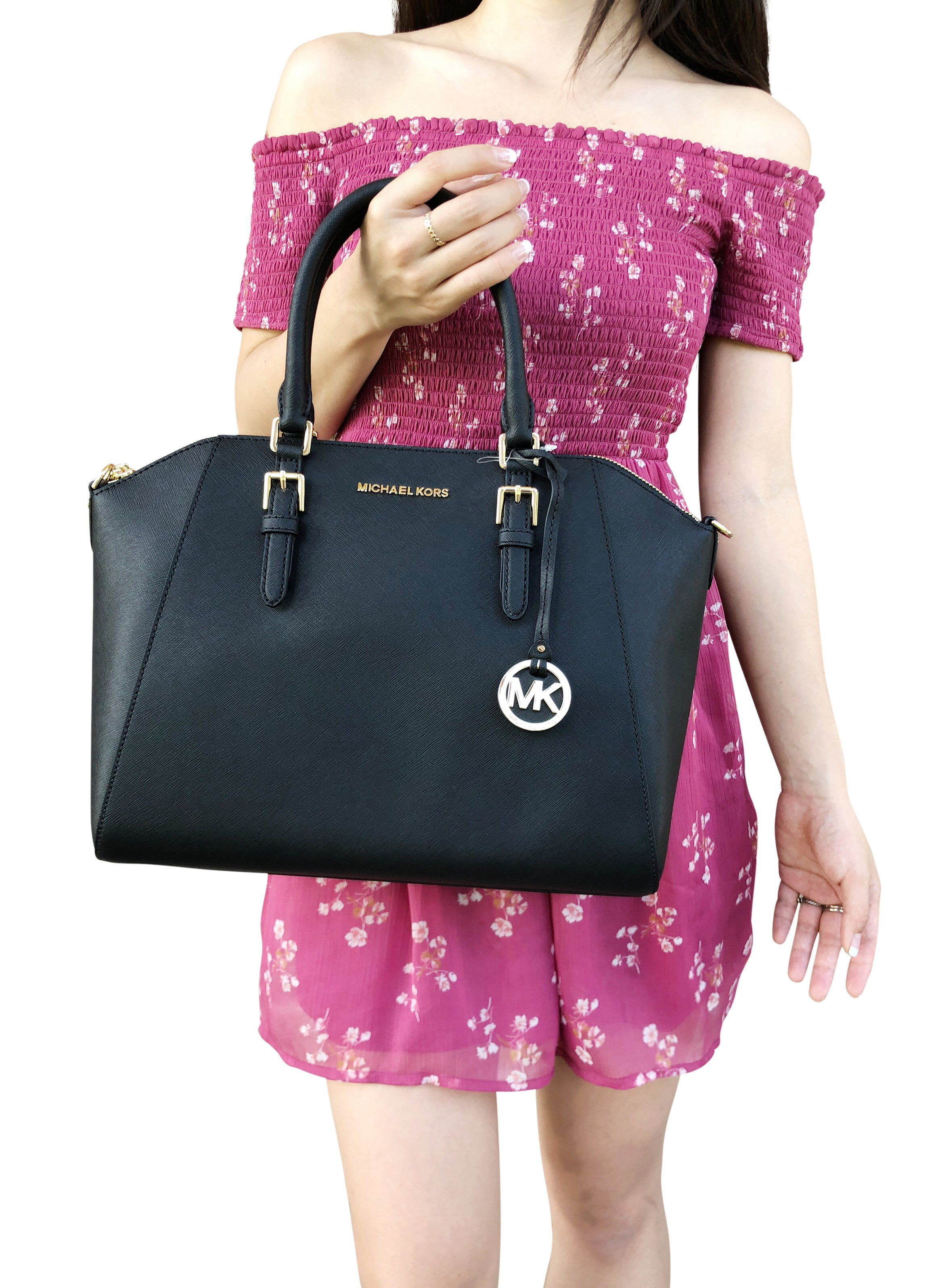 aa271583edc2 Michael Kors Large Ciara Top Zip Satchel Black Saffiano Leather #MK  #mercari #poshmark #amazondeals #ebayresellers #mercaricode #ebayreseller  #Posher ...