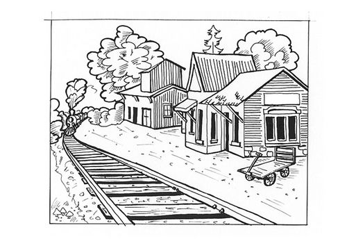 Coloring Page Train Station Img 9545 Coloring Pages Old West Town Train Station