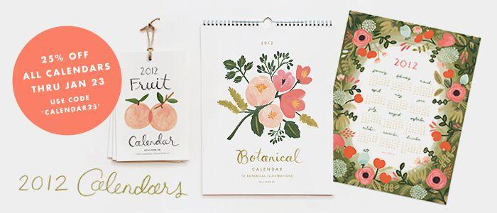 rifle paper co. 2012 calendars