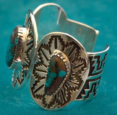Turquoise cuff bracelet turquoise southwestern for Sunset pawn and jewelry
