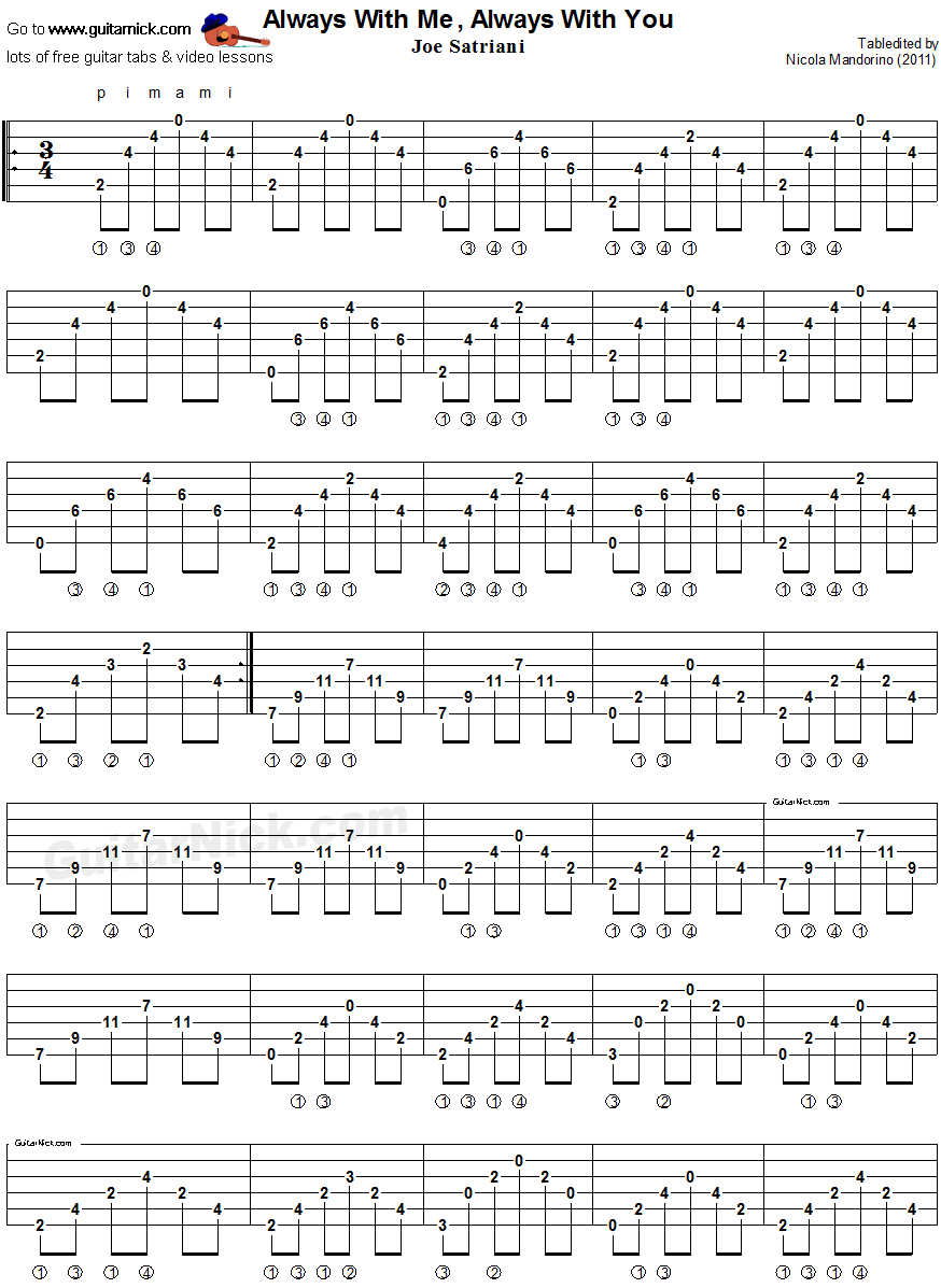 Always With Me Always With You Fingerstyle Guitar Tablature 1