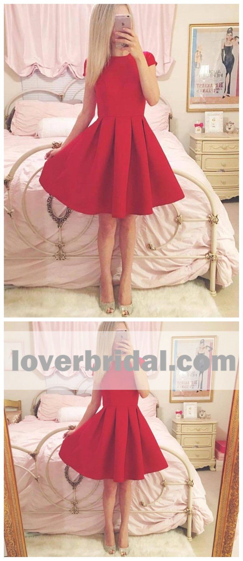 Short sleeves simple cheap short red homecoming dresses online