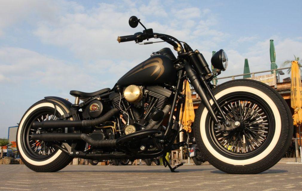 Customized Harley-Davidson Softail EVO Springer with Thunderbike rearfender-kit & whitewalls. Built by Thunderbike Customs Germany