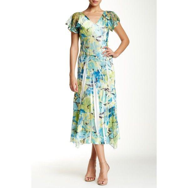 KOMAROV V-Neck Flutter Sleeve Dress ($100) ❤ liked on Polyvore featuring dresses, sfi, floral print midi dress, white floral dress, floral dress, ruffle sleeve dress and midi dress