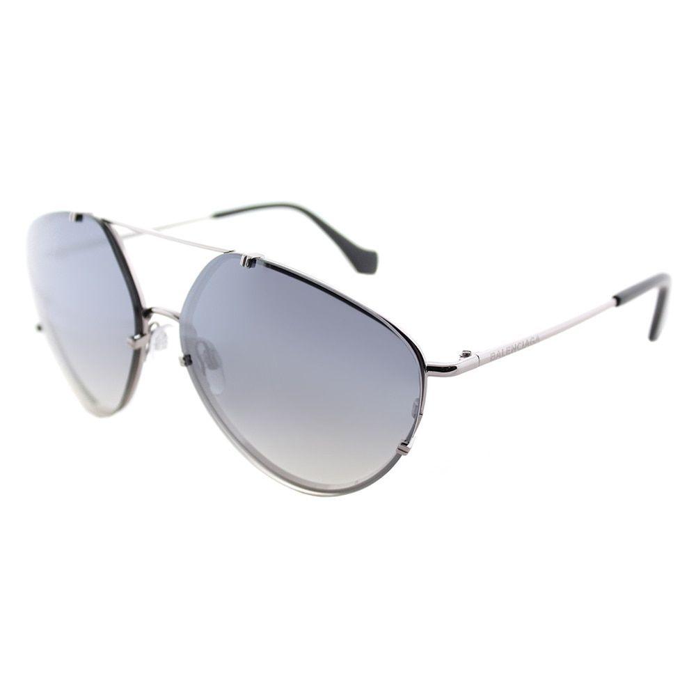 Balenciaga BA 0085 14C Shiny Light Ruthenium Geometric Aviator Sunglasses with Smoke Mirror Lenses