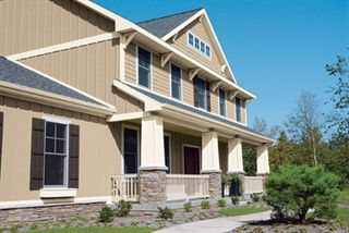 Neutral Tan Board And Batten Exterior Siding With White