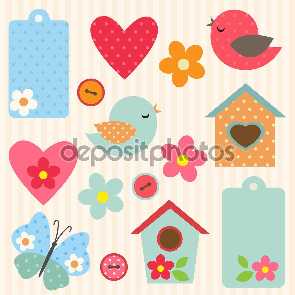 Conjunto De Vetor Flores P Ssaros Borboletas E Birdhouses Cha De  -> Borboleta Vetor