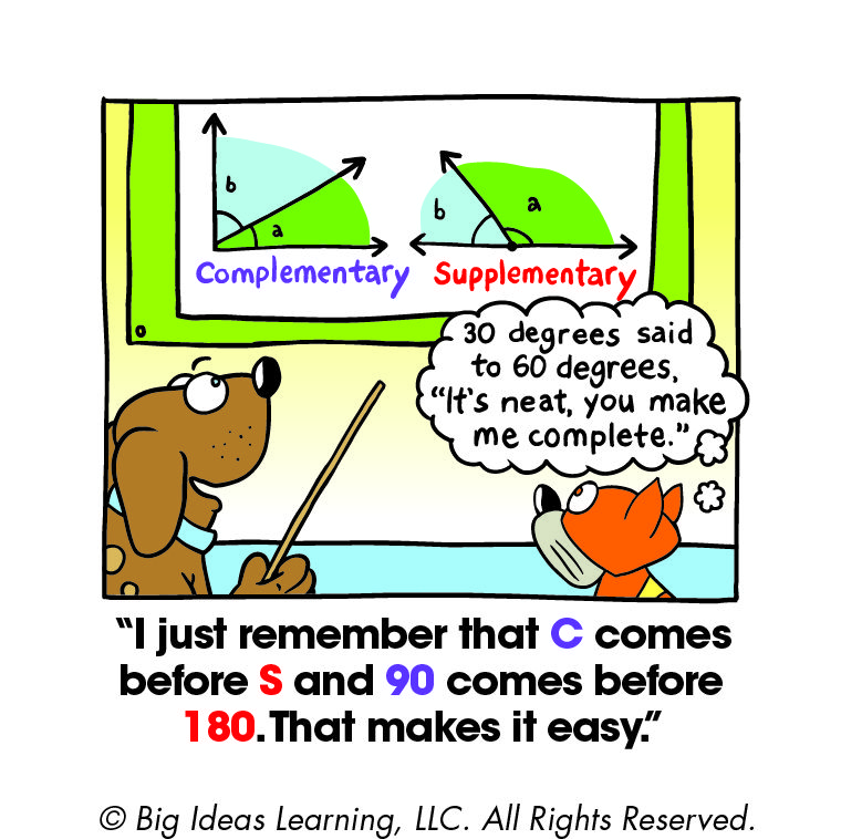 Complementary And Supplementary Angles Supplementary Angles Big Ideas Math Math Cartoons