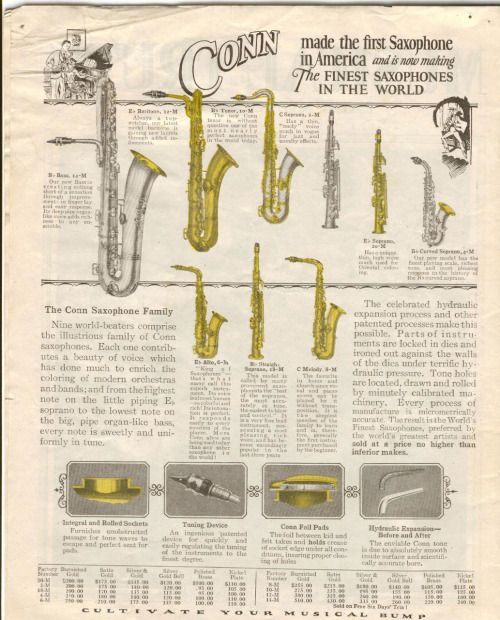 advertisment for conn saxophones | Jazz Musicians