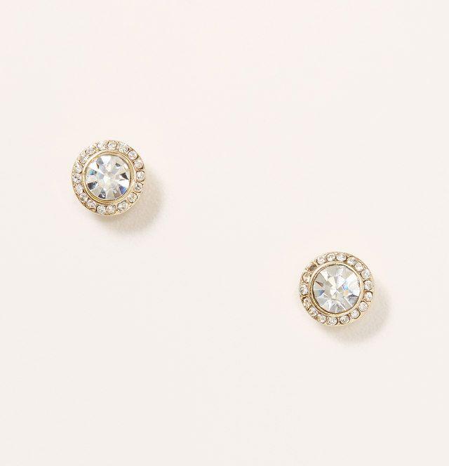 Pave Bordered Earrings | Loft