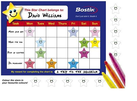 Star Reward Chart Back to School Crafts Bostik free - printable rewards charts