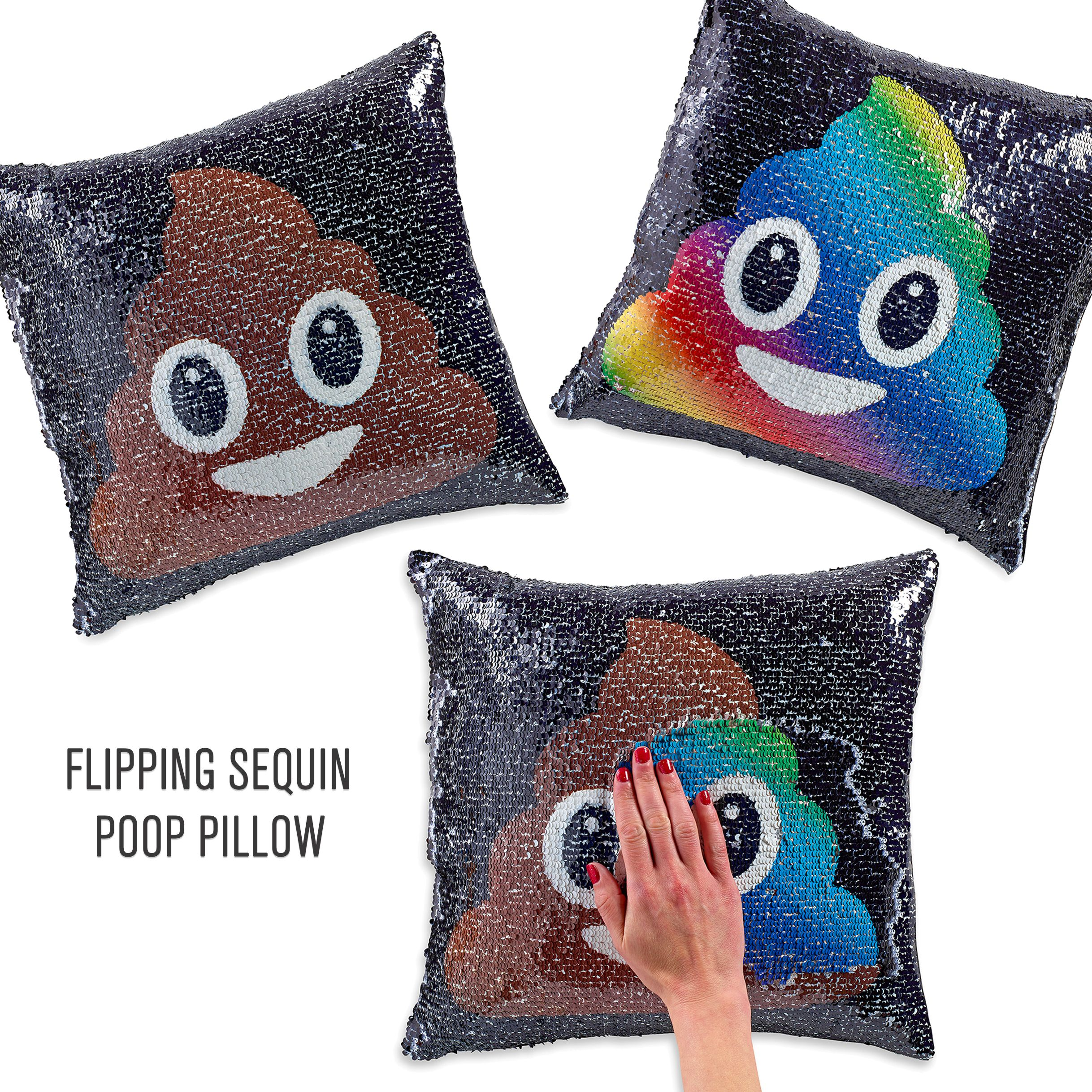 new flipping sequin pillows with emoji faces flip the sequins back and forth to change the face. Black Bedroom Furniture Sets. Home Design Ideas