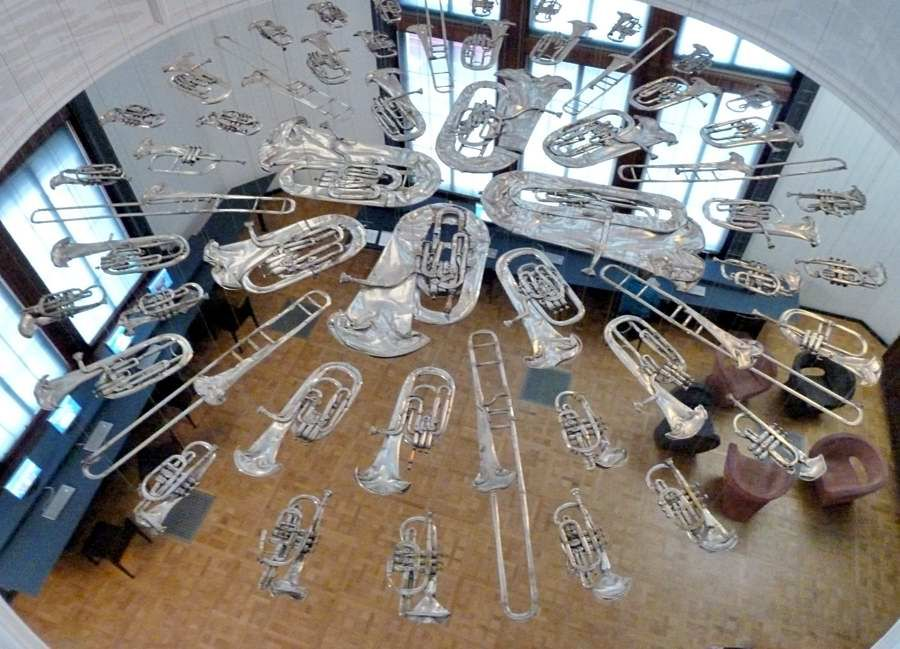 Musical instruments on a glass floor in the Victoria and Albert Museum