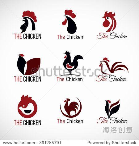 Black Red And Brown Chicken Logo Vector Set Design Chicken Tattoo