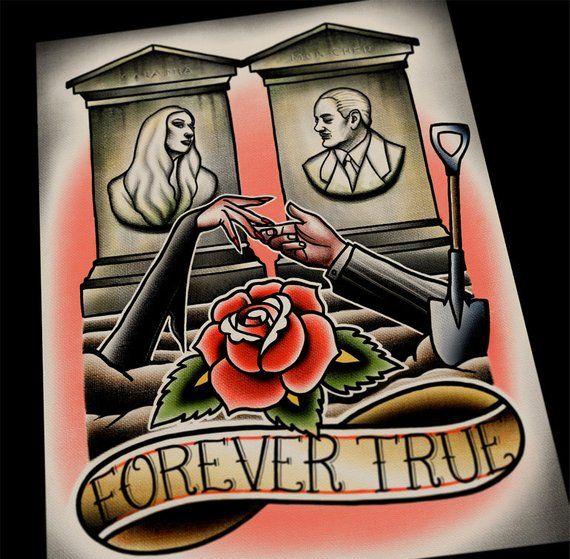 Forever True Adams Family Morticia Gomez Tattoo Flash