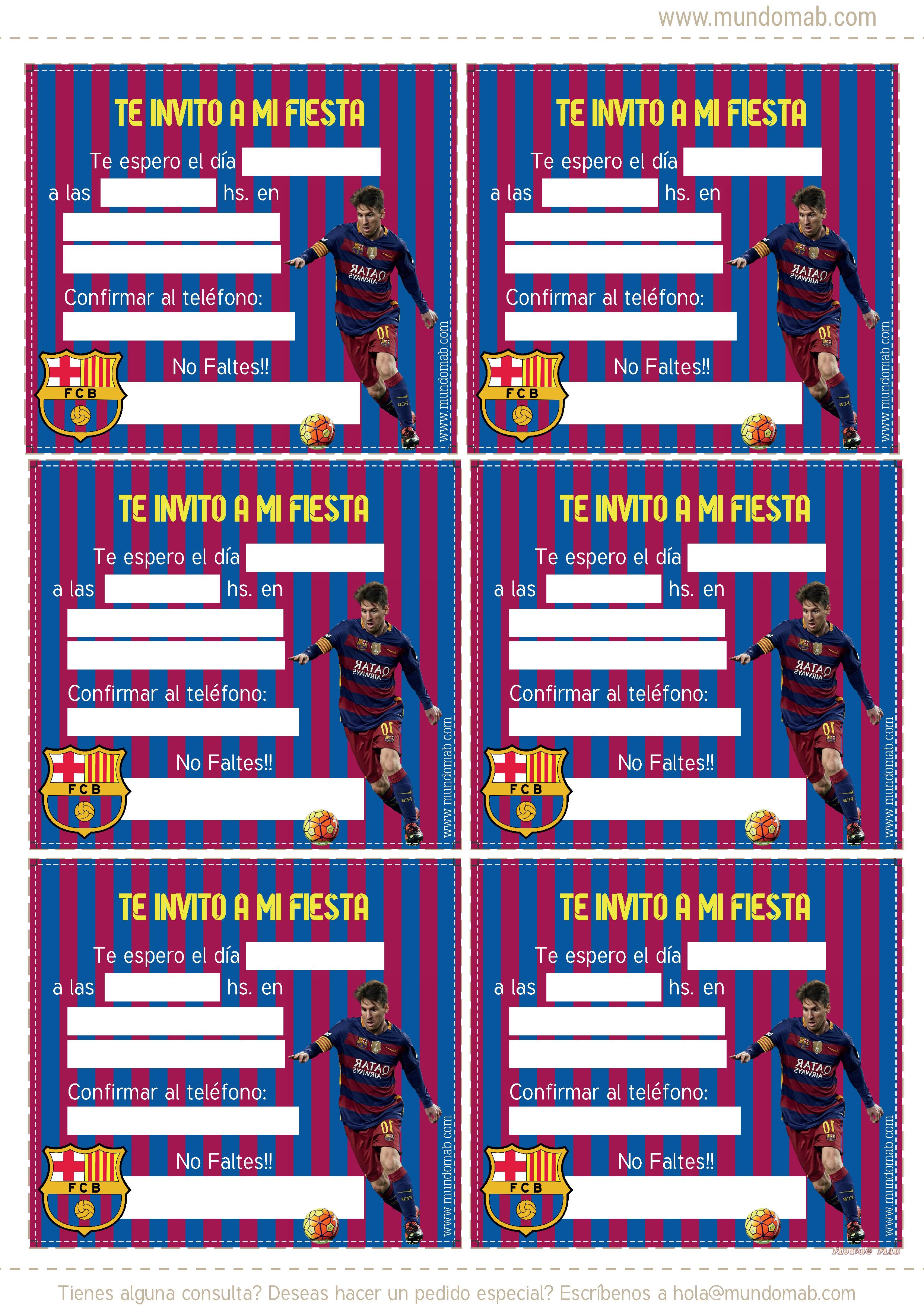 Barcelona Fc Invitaciones De Cumpleanos Para Descargar Mundo Mab